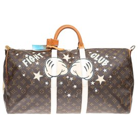 "Louis Vuitton-Louis Vuitton Keepall 55 Monogramm ""Mickey Fight Club II"" von PatBo angepasst!-Braun"