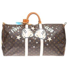 "Louis Vuitton-Louis Vuitton Keepall 55 Monogram ""Mickey Fight Club II"" customisé par PatBo !-Marron"