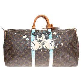 "Louis Vuitton-Louis Vuitton Keepall 55 Monogram ""Mickey Fight Club II"" customized by PatBo!-Brown"