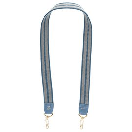 Autre Marque-John R Paris bag shoulder strap in gray and blue canvas with green Porosus Crocodile finishes-Blue,Grey