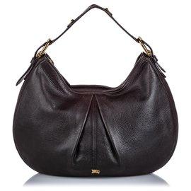 Burberry-Burberry Black Leather Hobo Bag-Black