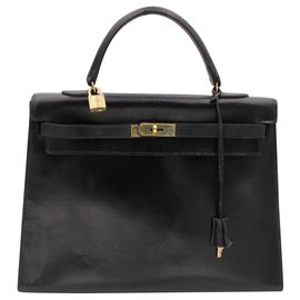 Hermès-Hermes vintage bag, kelly model, 1970.-Black