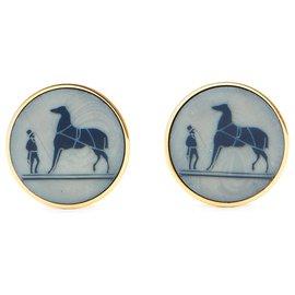 Hermès-CALECHE CLIPS-Bleu,Doré