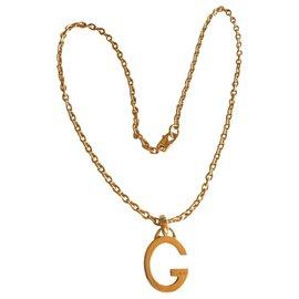 Gucci-Collier pendentif Gucci G en argent massif 925-Argenté