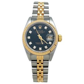 "Rolex-Rolex ""Oyster Perpetual Date"" watch in steel, Yellow gold and diamonds.-Other"