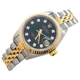 """Rolex-Montre Rolex """"Oyster Perpetual Date"""" en acier, or jaune et diamants.-Autre"""