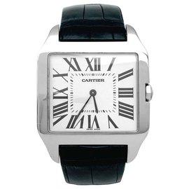 """Cartier-Montre Cartier modèle """"Santos-Dumont"""" en or blanc sur cuir.-Autre"""