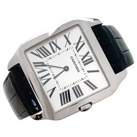 "Cartier-Cartier watch ""Santos-Dumont"" model in white gold on leather.-Other"