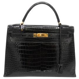 Hermès-HERMES KELLY 32 POROSUS NOIR-Noir