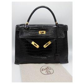 Hermès-hermes kelly 32 POROSUS BLACK-Black