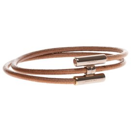 Hermès-Bracelet HermèsTournis en cuir naturel et bijouterie en acier palladié argenté-Marron,Argenté