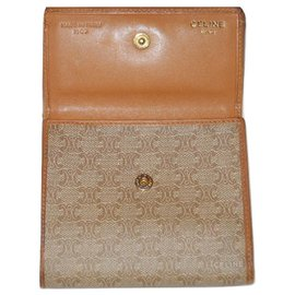 Céline-CELINE vintage wallet Macadam-Beige,Cognac
