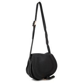 Chloé-Chloe Black Leather Marcie Crossbody Bag-Black