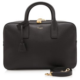 Yves Saint Laurent-YSL Black calf leather Museum Briefcase-Black