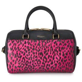 Yves Saint Laurent-YSL Black calf leather Classic Baby Duffle Bag-Black,Pink