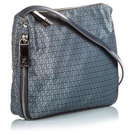 Fendi-Fendi Gray Zucchino Nylon Crossbody Bag-Grey