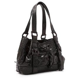 Burberry-Burberry Black Patent Leather Studded Dawstring Shoulder Bag-Black