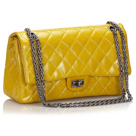 Chanel-Chanel Yellow Reissue 225 Quilted Patent Leather lined Flap Bag-Yellow