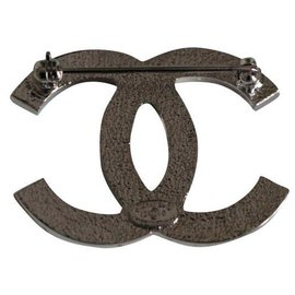 Chanel-Broche CC-Argenté