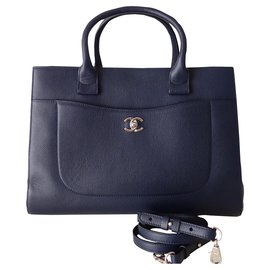 Chanel-BAG CHANEL SHOPPING NAVY BLUE-Navy blue