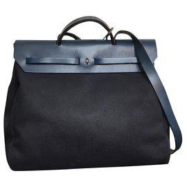 Hermès-SAC BANDOULIÈRE HERBAG EN TOILE 10-Bleu foncé