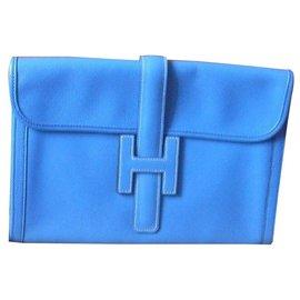 "Hermès-Hermès Clutch Type ""Jigé""-Blue"