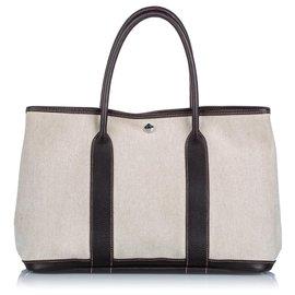Hermès-Hermes White Garden Party PM-Noir,Blanc