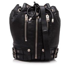 Yves Saint Laurent-YSL Black Leather Rider Bucket Bag-Black