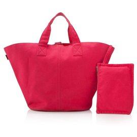 Hermès-Hermes Pink Canvas Beach Tote Bag-Pink