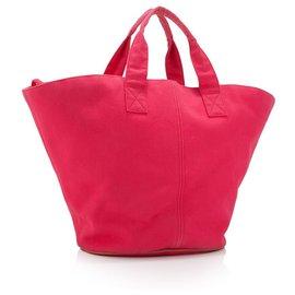 Hermès-Hermes Sac cabas en toile rose-Rose