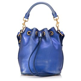 Yves Saint Laurent-YSL Blue Metallic Leather Bucket Bag-Blue