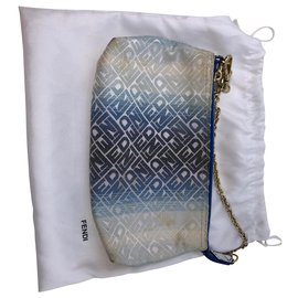 Fendi-Pouch with chain-Blue,Other