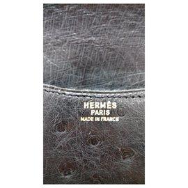 Hermès-Sac à main Pochette Purse Hermès Autruche Noir Ghw-Noir