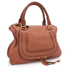 Chloé-Chloe Brown Leather Marcie Handbag-Brown
