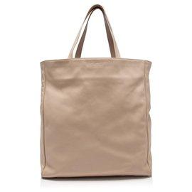 Yves Saint Laurent-YSL Brown Leather Tote Bag-Brown,Beige