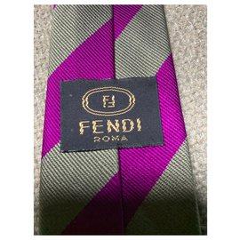 Fendi-Cravate régimentaire-Multicolore