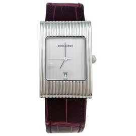 "Boucheron-Boucheron Watch, model ""Reflection"", steel on leather.-Other"