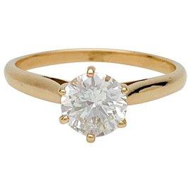 inconnue-Solitaire en or jaune, diamant 0,96 carat.-Autre
