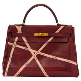 Hermès-KELLY 32 ROUGE HERMES BOLDUCS UNIQUE-Bordeaux