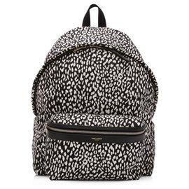 Yves Saint Laurent-YSL Black Nylon Babycat Print Backpack-Black,White