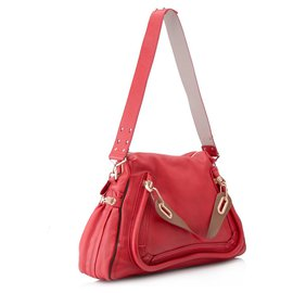 Chloé-Chloe Red Leather Paraty Satchel-Red