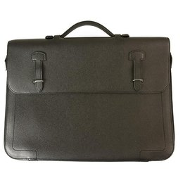 Hermès-Hermes Black Togo Leather Briefcase Document Holder Handbag Palladium Hardware-Black