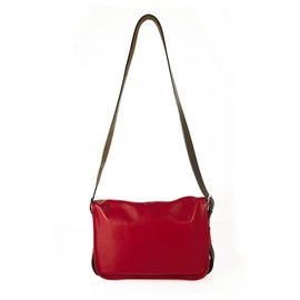 Hermès-HERMES Barda 35 messenger Red Sikkim calf leather buckle Silver & palladium hardware-Red