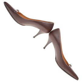 "Hermès-Hermès ""Julie"" pumps in grained calf leather, mahogany color in very good condition!-Brown"