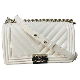 Chanel-CHANEL BOY MEDIUM WHITE BAG NEW-White