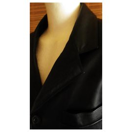 Versace-leather jacket VERSACE 54 In a perfect condition-Black