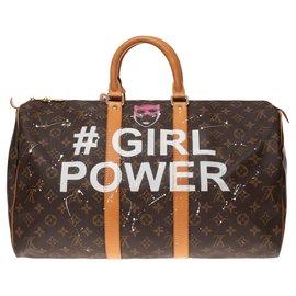 "Louis Vuitton-Sac Louis Vuitton Keepall 45 en toile Monogram customisé ""Girl Power"" by PatBo !-Marron"