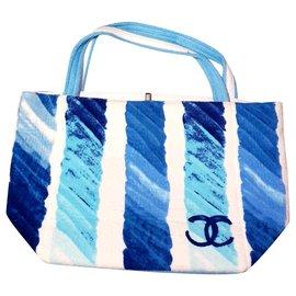 Chanel-Sac cabas Chanel neuf-Blanc,Bleu,Turquoise