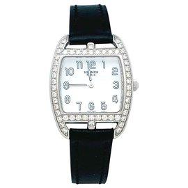 "Hermès-Hermès watch ""Cape Cod Tonneau"" model in steel and diamonds on leather.-Other"