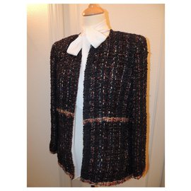 Chanel-CHANEL SHORT JACKET TWEED ICONIC T.42-Multiple colors